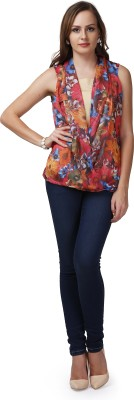 Glam & Luxe Casual Sleeveless Printed Women's Beige, Multicolor Top