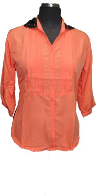 V.K TRADERS Casual 3/4 Sleeve Embroidered Women's Orange Top