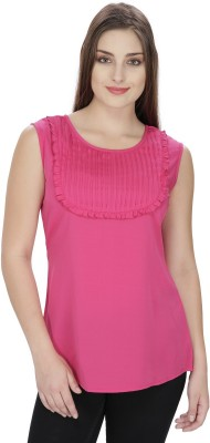 Pops N Pearls Casual Sleeveless Solid Women's Pink Top