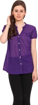 Sweet Lemon Casual Short Sleeve Solid Women's Purple Top