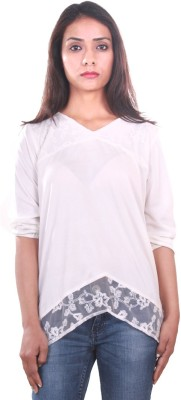 AR2 Party 3/4 Sleeve Solid Women's White Top