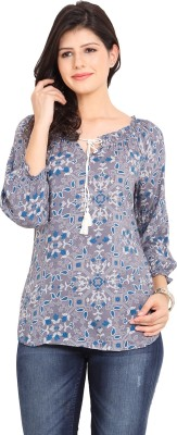 Paprika Casual 3/4 Sleeve Printed Women,s Grey Top