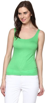 Trend18 Casual Sleeveless Solid Women's Green Top