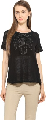 Free & Young Casual Short Sleeve Solid Women's Black Top