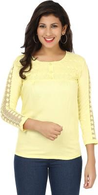 Yashasvi Casual 3/4 Sleeve Solid Women's Yellow Top