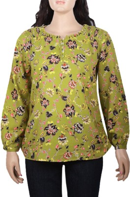 Mustard Casual Full Sleeve Floral Print Women's Multicolor Top
