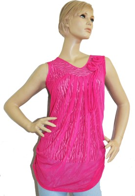 SayAlo Casual, Party Sleeveless Self Design Women's Pink Top