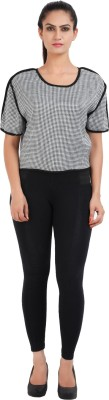 Prnas Casual Short Sleeve Houndstooth Women's Multicolor Top