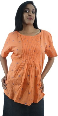 ShopMore Casual Short Sleeve Printed Women's Orange Top