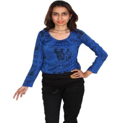 Vanya Enterprises Casual Full Sleeve Printed Women's Blue, Black Top