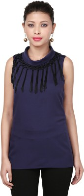 Threesome Casual Sleeveless Solid Women's Blue Top