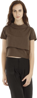 Fuziv Casual Short Sleeve Solid Women's Brown Top
