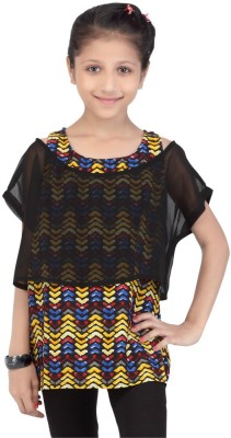 Life by Shoppers Stop Casual Short Sleeve Self Design Girl's Black Top