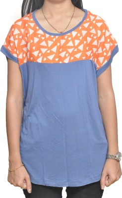 Lazy Dog Casual Short Sleeve Printed Women's Blue Top