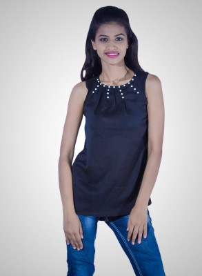 Youstyleme Casual Sleeveless Embellished Women's Black Top
