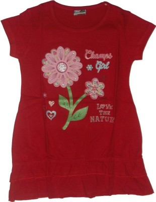 Red Rose Casual, Party, Festive Cap sleeve Applique Girl,s Red Top