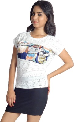 Oomph Factor Casual, Party Short Sleeve Printed Women's White, Blue Top
