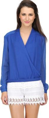 Ozel Studio Casual Full Sleeve Solid Women's Blue Top