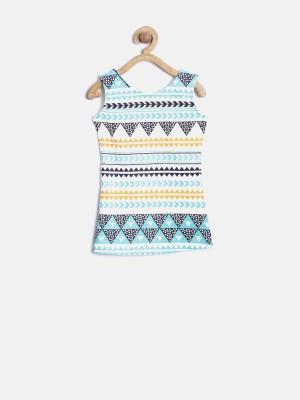 Yk Casual Sleeveless Printed Girl's White Top