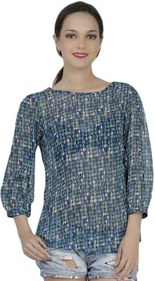 Mask Lifestyle Casual 3/4 Sleeve Printed Women,s Multicolor Top
