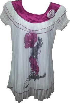 Dovekie Casual Short Sleeve Printed Women's White, Purple Top