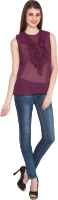 Sharleez Casual Sleeveless Solid Women's Purple Top