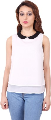 Clo Clu Casual Sleeveless Solid Women,s White Top