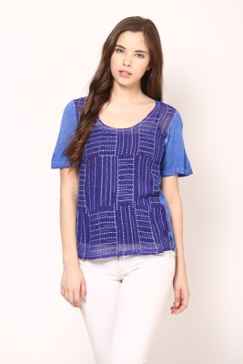 Rena Love Casual Short Sleeve Printed Women's Blue Top