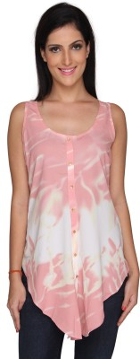 Bombay High Casual Sleeveless Printed Women's Pink Top