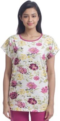 Nite Flite Casual Short Sleeve Floral Print Women's Multicolor Top