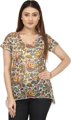 IROIRO Casual Short Sleeve Printed Women's Multicolor Top
