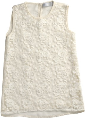 Kami Casual Sleeveless Solid Girl's White Top