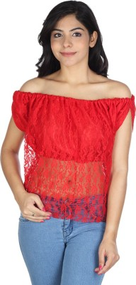Augadh Casual Sleeveless Self Design Women's Red Top