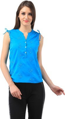 Chic Crowd Casual Sleeveless Embroidered Women's Blue Top