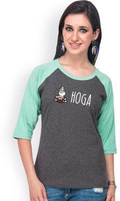 Campus Sutra Casual 3/4 Sleeve Printed Women's Grey, Green Top