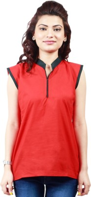 Visach Party Sleeveless Solid Women's Red Top