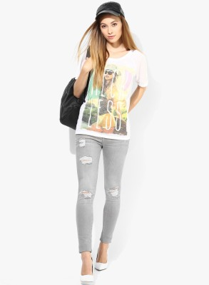 Only Casual Short Sleeve Graphic Print Women's White Top