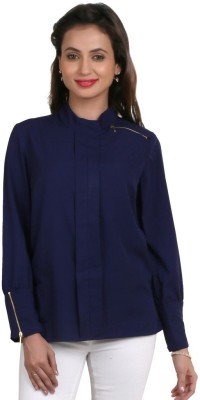 Big Tree Casual Full Sleeve Solid Women's Blue Top