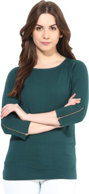 Miss Chase Casual 3/4 Sleeve Solid Women's Green Top