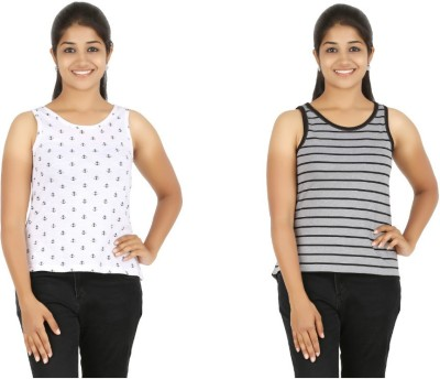 HALF INCH Casual Sleeveless Printed, Striped Women's White, Grey Top