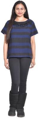 Entease Casual Short Sleeve Striped Women's Blue Top