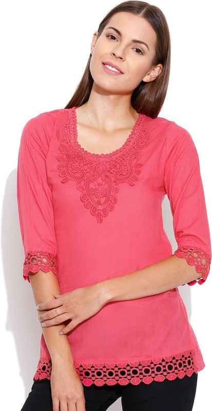 Shopaholic Casual 3/4th Sleeve Solid Women's Pink Top