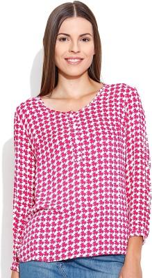 Shopaholic Casual Full Sleeve Printed Women's Pink, White Top