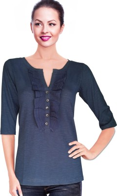 BeforeAfter Casual 3/4 Sleeve Solid Women's Dark Blue Top