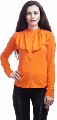 Five Stone Casual Full Sleeve Self Design Girl's Orange Top