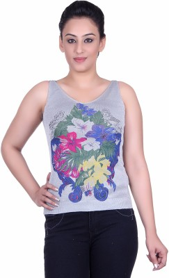 Sellsy Casual Noodle strap Floral Print Women's Grey Top