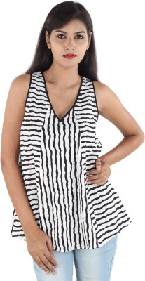 Megha Casual Sleeveless Striped Women's Black, White Top