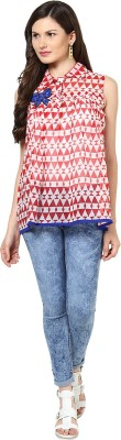 Glam & Luxe Casual Sleeveless Printed Women's Red, White Top