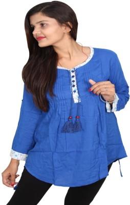 Vanya Enterprises Casual Full Sleeve Solid Women's Blue Top