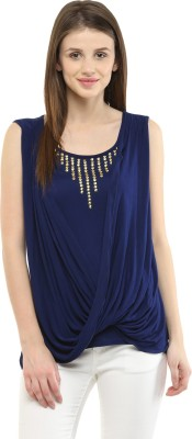 Shakumbhari Casual Sleeveless Solid Women's Blue Top